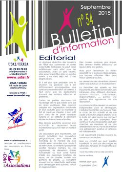 Bulletin d'information n°54 - Septembre 2015