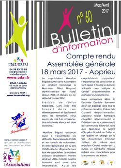 Bulletin d'information n°60 - Avril 2017