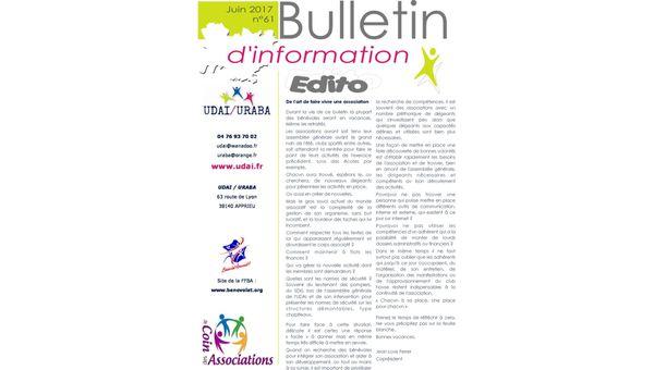 Le bulletin d'information n°61 est ligne !