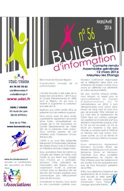 Bulletin d'information n°56 - Avril 2016