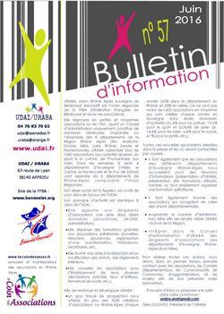 Bulletin d'information n°57 - Juin 2016