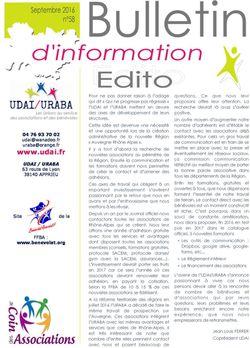 Bulletin d'information n°58 - Septembre 2016