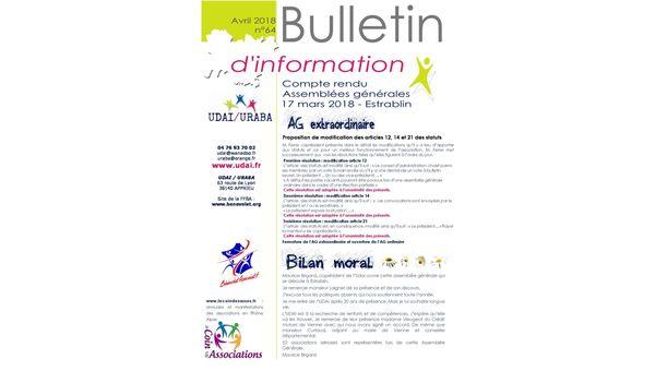 Bulletin d'information n°64 avril 2018