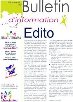 Bulletin d'information n° 69 décembre 2019